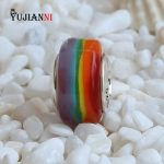 Rainbow Glass Beads High Quality <b>Handmade</b> Charms 925 Sterling Silver <b>Jewelry</b> 4.5mm Hole Fit Original Troll Bracelet & Necklace