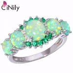 CiNily Created Green Fire Opal Green Zirconia Silver Plated Wholesale Hot Sell for Women <b>Jewelry</b> Wedding Ring Size 5-12 R7552