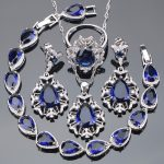 925 Sterling <b>Silver</b> Bridal Jewelry Sets For Women Wedding Jewelry <b>Bracelet</b> Earrings Pendant Necklace Rings Set With White Stones