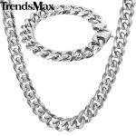 Trendsmax Polished <b>Jewelry</b> Set Mens <b>Necklace</b> Bracelet 316L Stainless Steel Chain Silver Tone Curb Cuban Link HS43