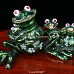 "Frog Family Jewelled Trinket Box Frog Enamel Box Crystal Studded <b>Jewelry</b> Box FROG "" Enamel Keepsake Trinket Box Collectible Frog"