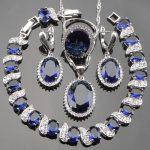 Blue Cubic Zirconia 925 Sterling Silver <b>Jewelry</b> Set Women White Stones Earrings <b>Necklaces</b>&Pendants Bracelets Rings Set Gift Box
