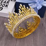 Vintage Gold Miss Universe Crown For Women Hair <b>Jewelry</b> Pearl crown Gold Crystal Tiara For <b>Wedding</b> Bride Hair Accessories T-736