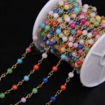 4mm size Multicolor Malaysia Jades Rosary Chain,Mixed color Jaspers Round Bead Wire Wrapped chain Necklace <b>Jewelry</b> <b>Supplies</b>