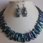 Charming Pearl Jewelry Set Genuine Cultured Black Biwa Pearl <b>Necklace</b> 17 Inches Earrings Set