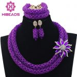<b>Handmade</b> Purple Crystal Beads with Glass Beads Necklaces African Beads <b>Jewelry</b> Set For Nigerian Wedding Free Shipping ABL523