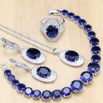925 Sterling <b>Silver</b> Jewelry Blue Zircon White Beads Jewelry Sets For Women Earrings/Pendant/Rings/<b>Bracelet</b>/Necklace Set