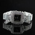 New Fashion Classic Elegant S925 <b>Silver</b> Pure Thai <b>Silver</b> Flower <b>Bracelet</b> Watches Thailand Process Rhinestone Bangle Dresswatch