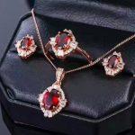 LANZYO 925 sterling <b>silver</b> natuarl garnet Jewelry Sets Fine Jewelry Ring Necklace Pendant <b>Earring</b> Women Bridal tz010ags