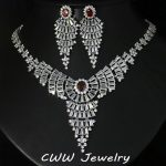 CWWZircons European Zirconia Wedding <b>Jewelry</b> White Gold Color Red Big Statement CZ Bridal <b>Necklace</b> Earrings Sets T156