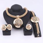 Latest Luxury Big Dubai Gold Color <b>Jewelry</b> Sets Fashion Nigerian Wedding African Beads Costume <b>Necklace</b> Bangle Earring Ring