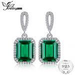 JewelryPalace Luxury 5.4ct Created Emerald Halo Dangle <b>Earrings</b> 925 Sterling <b>Silver</b> 2016 Fashion Fine Jewelry