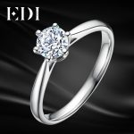 EDI 0.4ct Solitaire Moissanites Ring 4 Prong Setting 925 <b>Sterling</b> <b>Silver</b> Lab Grown Diamond Ring For Women Bands Fine <b>Jewelry</b>
