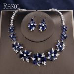 RAKOL Elegant Luxury Blue AAA+CZ Zircon Crystal Flowers Pretty Wedding <b>Necklace</b> Earrings Set For Women Dinner Dress <b>Jewelry</b> Set