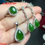 KJJEAXCMY boutique jewels 925 <b>silver</b> inlaid natural hetian jade pendant ring 3 pieces of simple gift necklace.