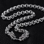 S925 <b>Sterling</b> <b>Silver</b> Retro Thai <b>Silver</b> <b>Jewelry</b> Men Domineering Dragon Clasp Rough Male Male <b>Silver</b> Clavicle Necklace Wholesale
