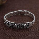 FNJ 925 <b>Silver</b> <b>Bracelet</b> Skeleton Vintage width 11mm 21cm Big Chain Skull S925 Thai <b>Silver</b> <b>Bracelets</b> for Men Jewelry