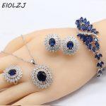 925 Sterling <b>Silver</b> Jewelry Sets For Women Anniversary Wedding Big Flower Dark Blue Zircon Necklace Ring Clip Earrings <b>Bracelet</b>
