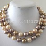 12mm Multicolor South Sea Shell Pearl Necklace Beads Fashion Women <b>Jewelry</b> <b>Making</b> Design Natural stone 34″BV115 Wholesale Price