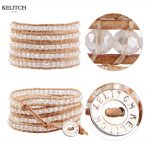 KELITCH Bright Crystal Beads 5 Wrap Leather Bracelets For Women <b>Jewelry</b> <b>Handmade</b> Adjustable Customized LOGO Drop Shipping