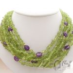 Lii Ji 7 rows Natural Peridot Chips Faceted Amethyst 925 Sterling <b>silver</b> <b>Necklace</b> 18″