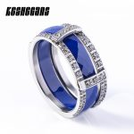 Fashion Pink Blue 2pcs/Set Ceramic Stainless Steel Ring Combination Ring Set With Shining Crystal For Women Lady Healthy <b>Jewelry</b>