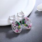 Hot pink flower Crystal zirconia Drop earrings 925 Sterling Silver Enamel fashion <b>jewelry</b> Earring for women Accessories <b>wedding</b>