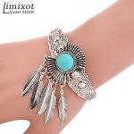 Women Girl Retro <b>Jewelry</b> Blue Stone Leaf Open Cuff Bangle Charm Bracelet Indian <b>Native</b> <b>American</b> <b>Jewelry</b> Retro Statement Bracelet