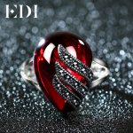 EDI Unique 925 Sterling <b>Silver</b> Ring 5ct Simulated Garnet Party Ring For Women Water Drop Shape Fine <b>Jewelry</b> Gifts