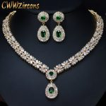 CWWZircons Top Quality Yellow Gold Color Green African Cubic Zirconia Beads Bridal Wedding <b>Jewelry</b> Sets For Wedding Brides T097