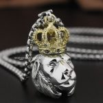 Brass Crown 925 Sterling <b>Silver</b> Guardians King Lion Mens Pendant 8P005(<b>Necklace</b> 24inch)