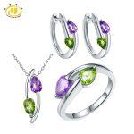Hutang Cute Natural Peridot & Amethyst Jewelry Sets for Women Solid 925 Sterling <b>Silver</b> Gemstone Jewelry Pendant Ring <b>Earrings</b>