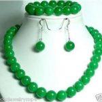 Women's Wedding <b>Jewelry</b> 10mm green gem beads necklace Bracelet set>AAA GP Bridal wide watch wings silver-<b>jewelry</b>