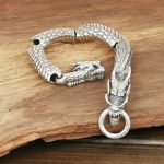 Real 925 <b>Sterling</b> <b>Silver</b> Dragon Scale Bracelet Handmade Vintage Punk Personalized Bracelet Men <b>Jewelry</b>