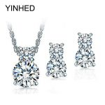 Really 925 <b>Sterling</b> <b>Silver</b> Wedding <b>Jewelry</b> Sets for Bridal Sparkling CZ Diamant Necklace and Stud Earrings <b>Jewelry</b> Set ZS001