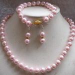 Charming! 10mm Pink Sea Pearl shell Necklace & Bracelets Earring Beads Fashion <b>Jewelry</b> <b>Making</b> Design <b>Jewelry</b> Set Natural Stone