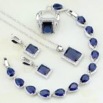 925 <b>Silver</b> Jewelry Blue Cubic Zirconia White Crystal Bridal Jewelry Sets For Women Party Earring/Pendant/Necklace/<b>Bracelet</b>/Ring
