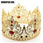 Hot Full Circle Tiaras Crowns For Women Wedding Hair <b>Jewelry</b> Princess Beauty Queen King Crown Flower Resin Vintage Crown Gift