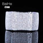 BAIHE <b>Sterling</b> <b>Silver</b> 925 1CT Certified H/SI Round Cut 100% Genuine Natural Diamonds Engagement Men Classic Fine Jewelry <b>Ring</b>