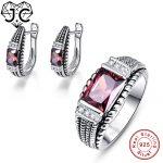 J.C Engagement <b>Jewelry</b> Women Dlicate Spessartine Garnet Ring & Earring Genuine Solid 925 Standard <b>Sterling</b> <b>Silver</b> <b>Jewelry</b> Set