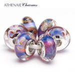 ATHENAIE 925 Sterling <b>Silver</b> Core Romantic Purple Murano Glass Charm Beads Kits Fit European Bracelets and <b>Necklaces</b>