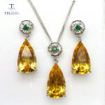 TBJ,Jewelry set pendant and <b>earring</b> with natural citrine and emerald in 925 <b>silver</b> for wedding anniversary ,best gift for women