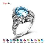 Szjinao March Birthstone Fashion Owl Rings for Women Bing Stone Aquamarine Vintage Bohemian Style Wedding Bulgaria <b>Jewelry</b>
