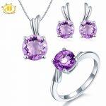 Hutang Natural Amethyst Solid 925 <b>Sterling</b> <b>Silver</b> Bridal <b>Jewelry</b> Sets Wing Ring & Pendant & Earrings Fine <b>Jewelry</b> Women's Gift