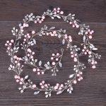 Trendy Pink Pearl Wedding Hair Accessories Silver Gold Handmade Tiara Headband Rhinestone For Bride Headpiece Women Hair <b>Jewelry</b>