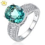 HUTANG Cocktail Ring Big Natural Green Fluorite & White Topaz 925 <b>Sterling</b> <b>Silver</b> Women Rings Fine Gemstone <b>Jewelry</b> Anel Mujer