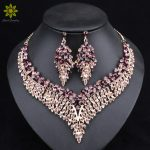 Leaf African Bridal <b>Jewelry</b> Sets for Women Big Crystal Statement Necklace Earrings Sets Wedding <b>Jewelry</b>
