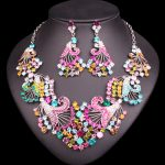 Fashion Multi-color Flowers Crystal <b>Necklace</b> & Earrings set Bridal <b>Jewelry</b> Sets for Brides Wedding Party Costume Jewellery sets