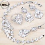 Women <b>Silver</b> 925 Jewelry Sets 2018 New White Zircon Jewellry <b>Bracelets</b> Pendant Necklace Earrings Rings Set Free Gift Box
