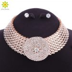 Crystal Bridal <b>Jewelry</b> Sets Gold Color Rhinestone Necklace Wedding Engagement <b>Jewelry</b> Sets for Women